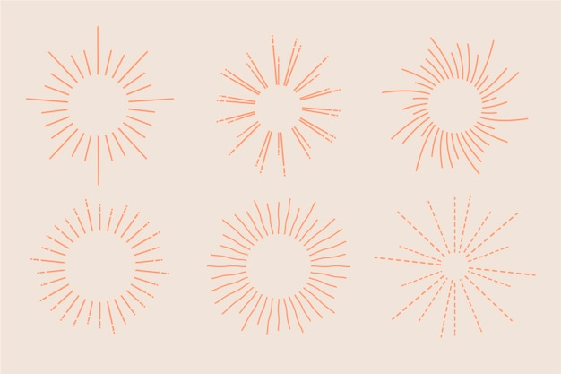 Linear flat sunbursts collection