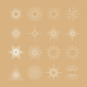 Linear flat sunbursts collection Free Vector