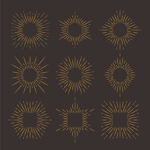 Collezione di raggi solari piatti lineari
