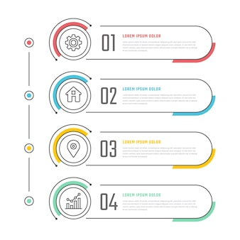 Linear flat table of contents infographic