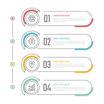 Линейное плоское оглавление инфографики