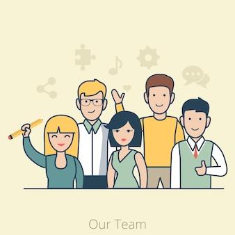 Линейная плоская команда молодого мужчины и женщины. бизнес-концепция совместной работы.