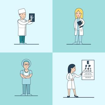 Набор персонажей linear flat травматолог, хирург, терапевт и офтальмолог. здравоохранение, концепция профессиональной помощи.