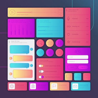 Linear flat ui/ux elements collection