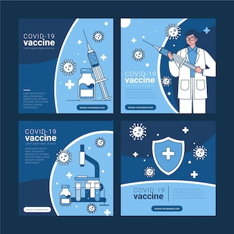 Коллекция постов в instagram с линейной плоской вакциной