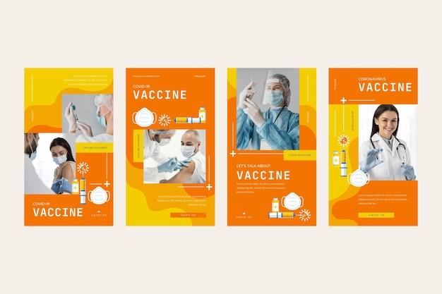 Raccolta di storie di instagram di vaccino piatto lineare