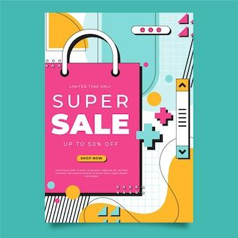 선형 평면 수직 판매 포스터 템플릿