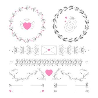 Decorazioni di nozze piatte lineari
