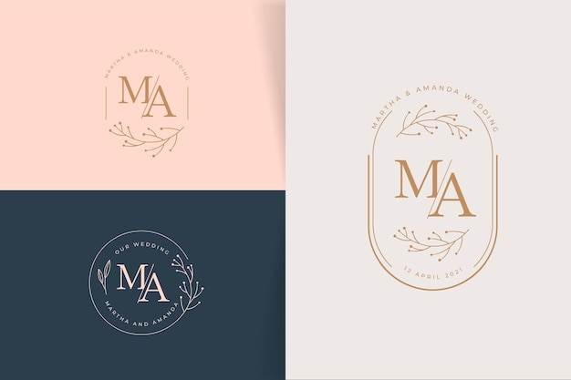 Linear flat wedding logo collection