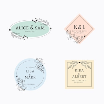 Linear flat wedding monogram pack