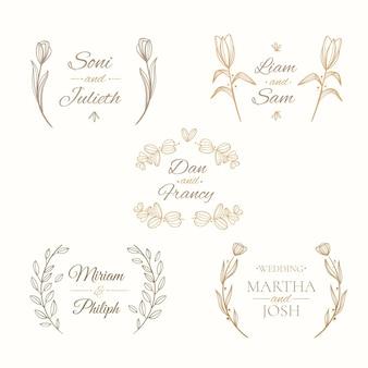 Collezione di monogrammi di matrimonio piatto lineare