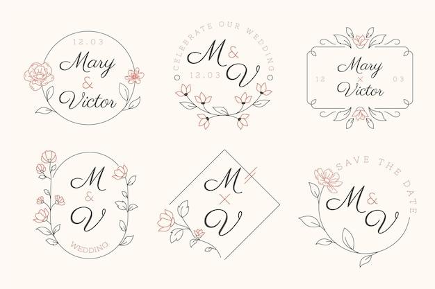 Collezione di monogrammi da sposa piatti lineari