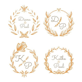 Linear flat wedding monograms collection