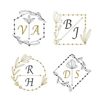 Linear flat wedding monograms set