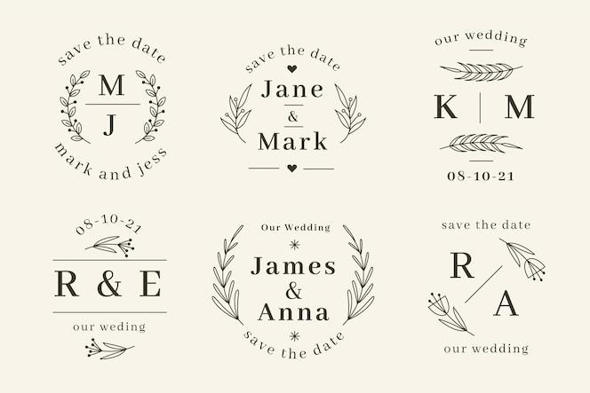 Linear flat wedding monograms templates