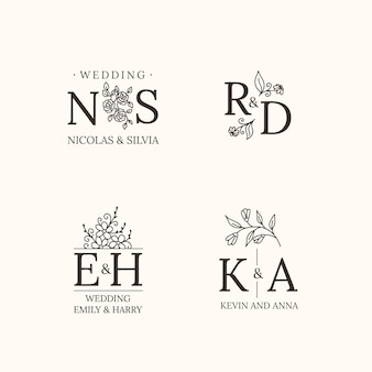 Linear flat wedding monograms