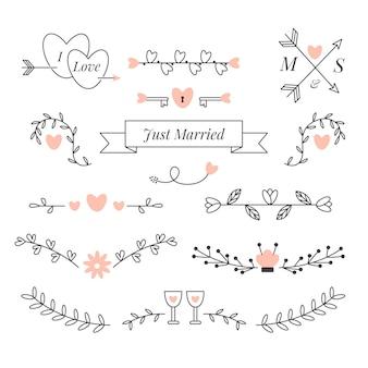 Collezione di ornamenti di nozze piatto lineare