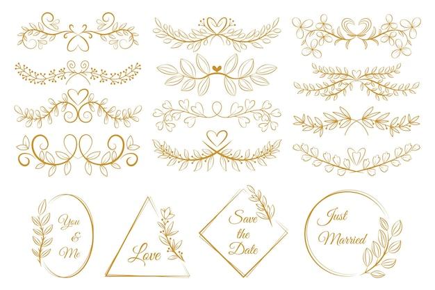 Collezione di ornamenti da sposa piatti lineari