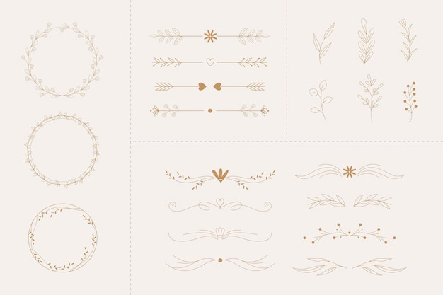 Linear flat wedding ornaments collection