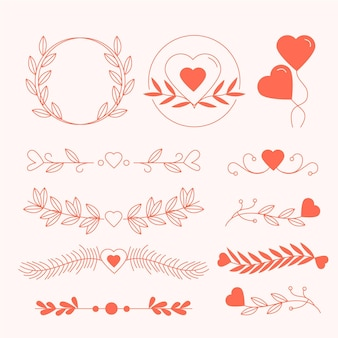 Коллекция линейных плоских свадебных украшений