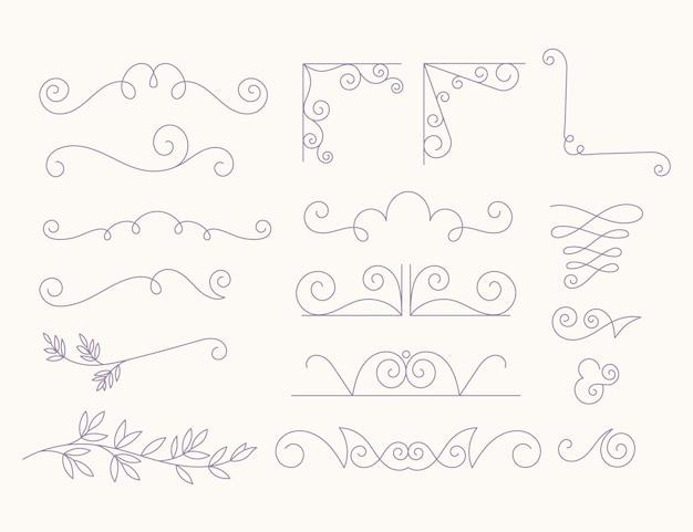Ornamenti di nozze piatti lineari