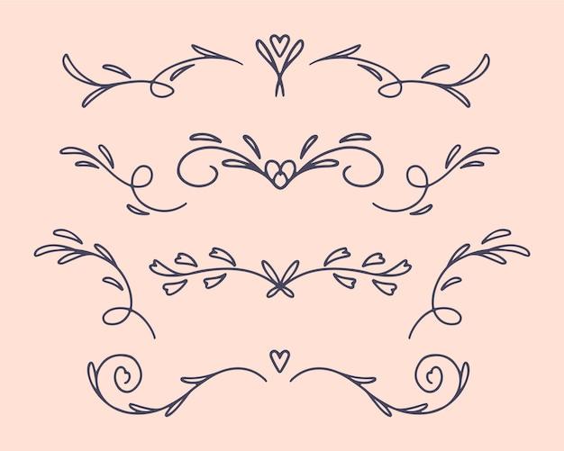 Linear flat wedding ornaments