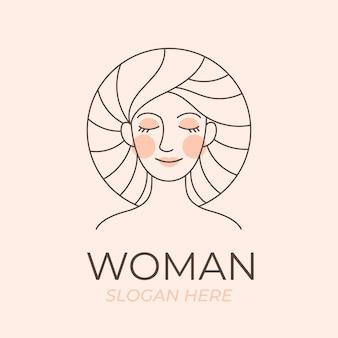 Шаблон логотипа линейной плоской женщины