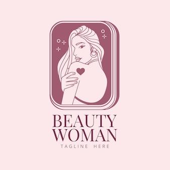 Linear flat woman logo template