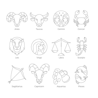 Accumulazione del segno zodiacale piatto lineare