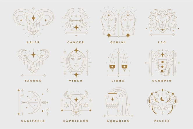 Linear flat zodiac sign collection