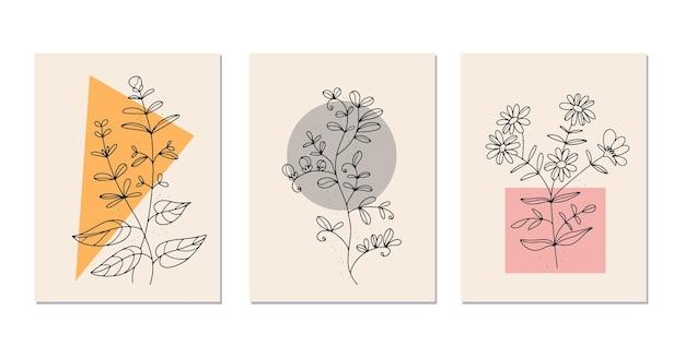 Линейные цветы. полевые цветы в линиях. винтажный стиль . белый фон. плакат в стиле модерн.