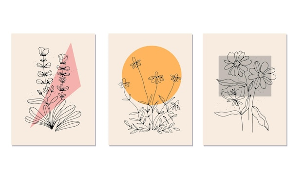 Linear flowers. wildflowers in lines. vintage style . white background. art nouveau poster .