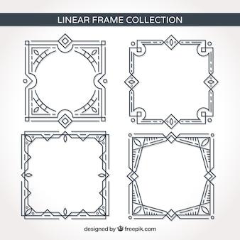 Collezione di cornici lineari con ornamenti