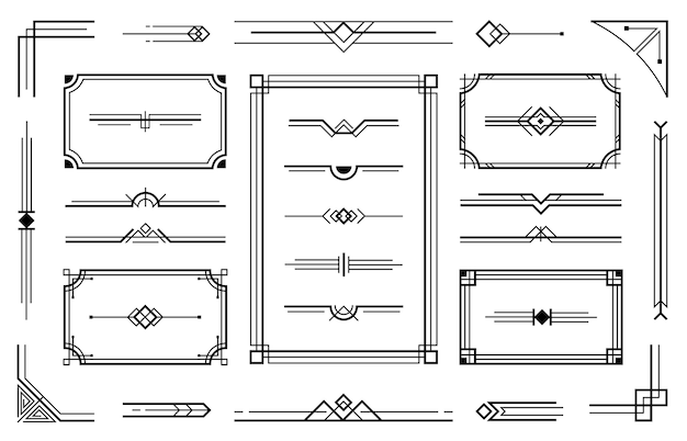 Linear geometric art deco ornaments