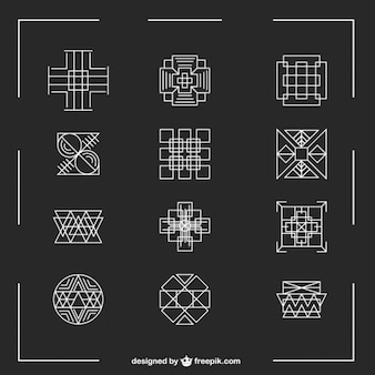 Linear geometric symbols set