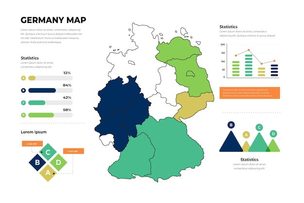 Linear germany map infographic