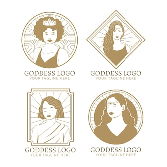 Modelli di logo della dea lineare
