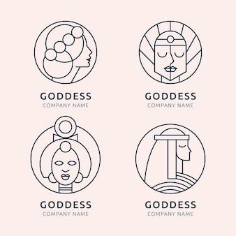 Шаблоны логотипов линейной богини