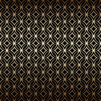 Linear gold art deco simple seamless pattern with round shapes, black and gold colors