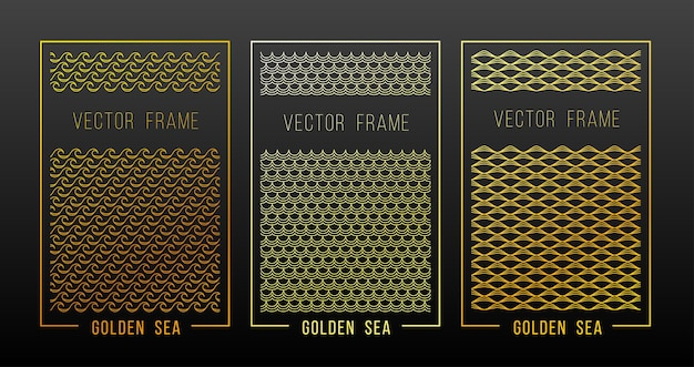 Linear gold ornament design elements