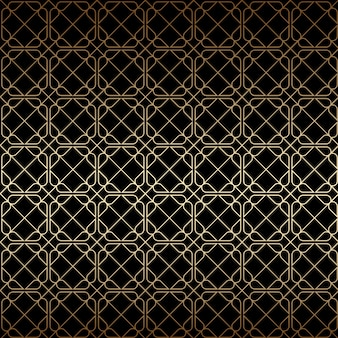 Linear golden and black art deco geometric seamless pattern