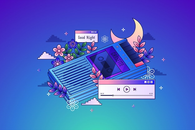 Cassetta vintage a gradiente lineare