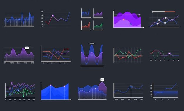 Linear graphcharts. business graphic charts, line diagrams and business infographics elements set. financial assets monitoring. investment analysing colorful histograms on black background