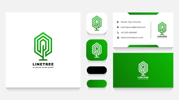 Linear green tree logo template and business card