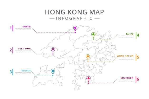線形香港地図インフォグラフィックテンプレート