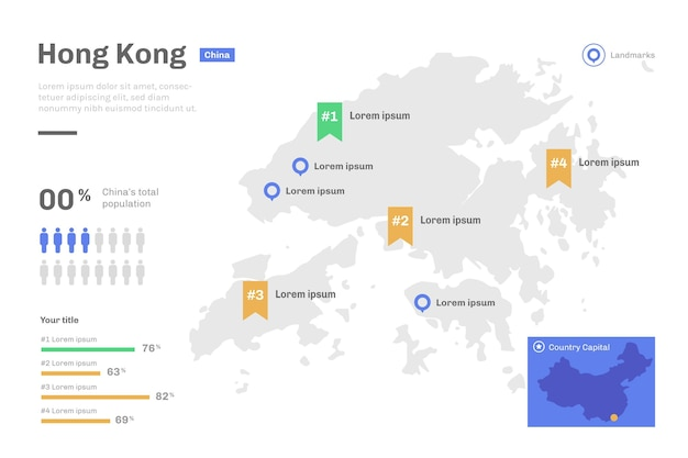Linear hong kong map infographic