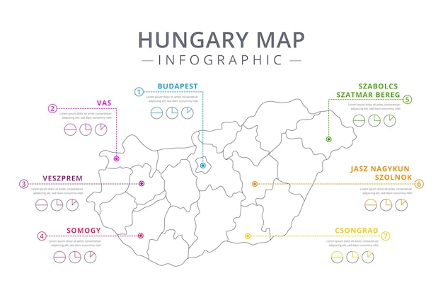 Линейная карта венгрии инфографики шаблон