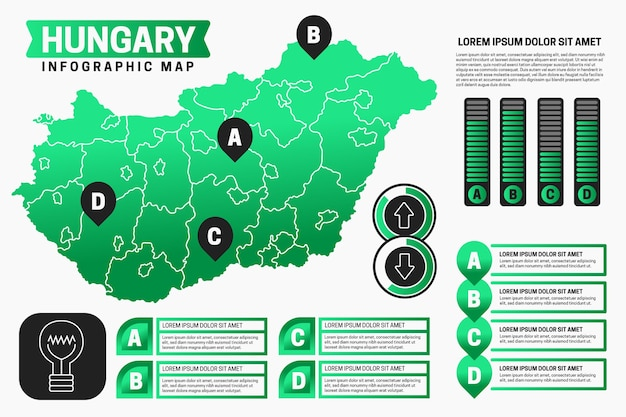 線形ハンガリー地図インフォグラフィック
