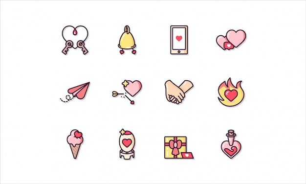 Linear icon set, related to saint valentine's day