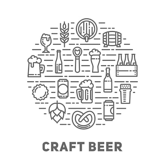 Linear icons of beer mugs, glasses, bottles and accessories.